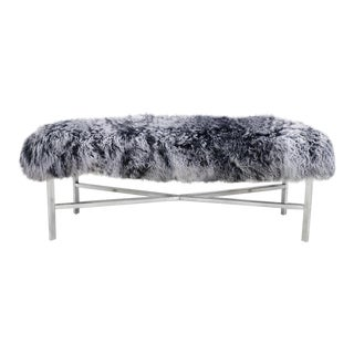 Gray Mongolian Fur Bench For Sale