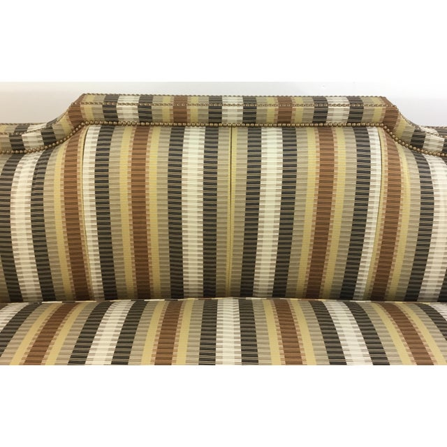 Traditional Traditional Hickory White Earth Tone Striped Sofa For Sale - Image 3 of 7