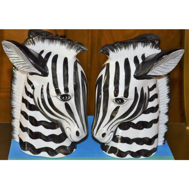 White 1970s Boho Chic Fitz & Floyd Porcelain Zebra Bookends - a Pair For Sale - Image 8 of 10