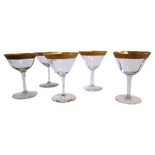 Vintage Gold-Banded Cocktail Glasses - Set of 5 For Sale