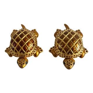 Vintage Edgar Berebi Bejeweled Golden and Amber Sea Turtle Trinket Boxes - Set of 2 For Sale