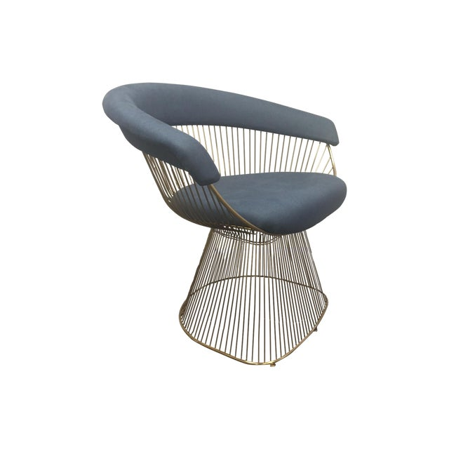 Soleil Style Mid-Century Modern Navy Blue & Gold Accent Chair - Image 1 of 3