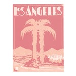 """Pink Palm Hollywood Deco Inspired Los Angeles Unframed Print, 11"""" X 14"""""""