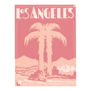"Pink Palm Hollywood Deco Inspired Los Angeles Unframed Print, 11"" X 14"" For Sale"