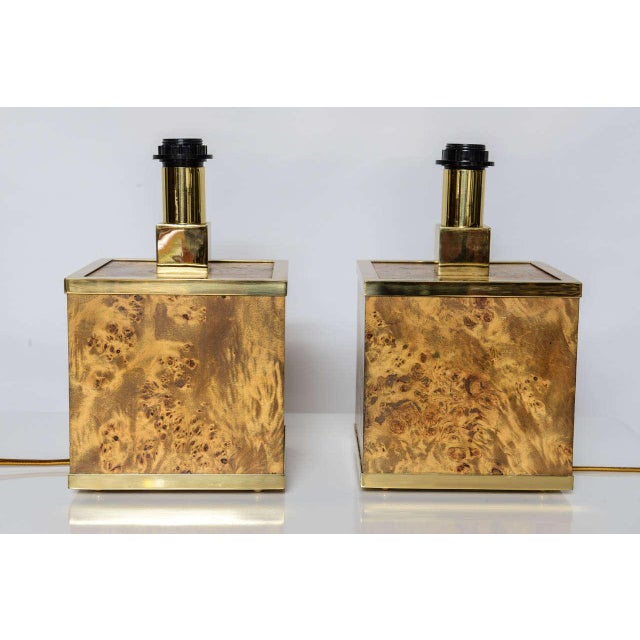 Metal Burlwood and Brass Lamps Attributed to Romeo Rega For Sale - Image 7 of 11
