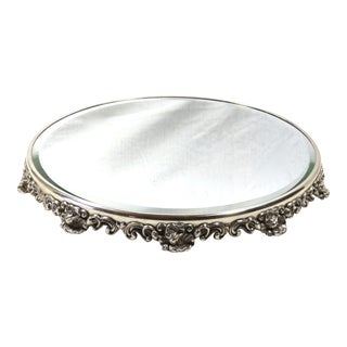 Antique Art Nouveau Silverplate Beveled Mirror Plateau For Sale