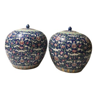 Antique Lidded Chinese Famille Rose Blue Round Urns - a Pair For Sale