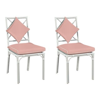 Haven Outdoor Dining Chair, Canvas Blush with Canvas White Welt, Pair For Sale