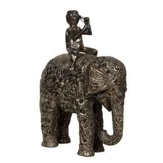 Late 19th Century Antique Man on Elephant Hand Carved Tibetan Sculpture For Sale