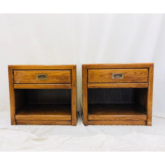 Stanley Furniture Pair Vintage Campaign Style Side Tables For Sale - Image 4 of 13