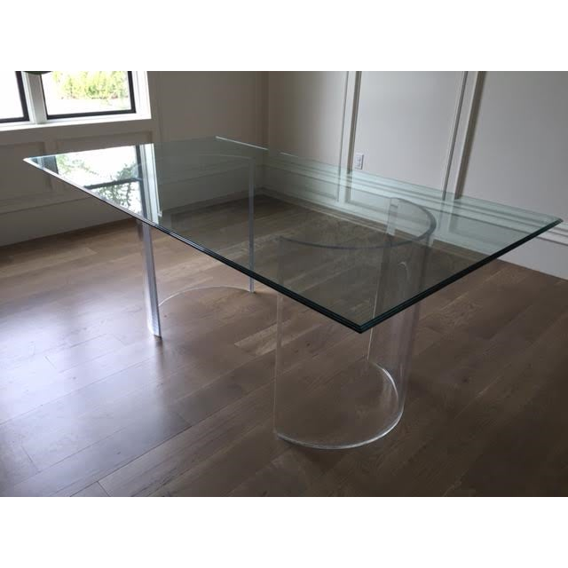 Beautiful vintage clear lucite base dining table. This listing is for both the glass top and the lucite base. The...