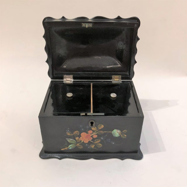 English Antique English Victorian Paper Mache Tea Caddy, Circa 1850-1870. For Sale - Image 3 of 5