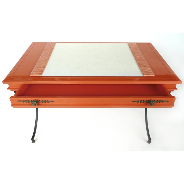 Hollywood Regency Italian Orange Lacquer Wrought Iron Desk & Chair - 2 Pieces For Sale - Image 3 of 13