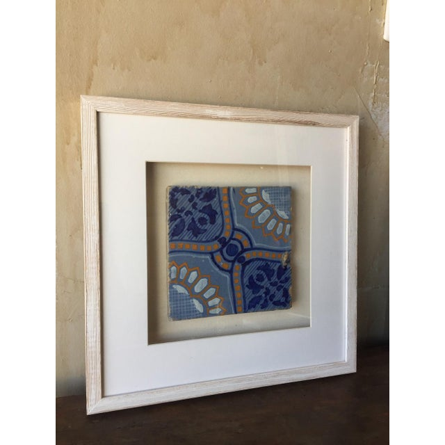 Framed Italian Antique Blue, Yellow, & White Tile For Sale - Image 5 of 7