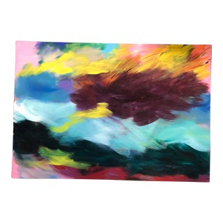 Original Vintage Abstract Painting Signed Deep Stretcher For Sale