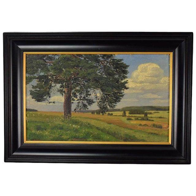 1910 Vintage Landscape Oil Painting by W. Vittale For Sale