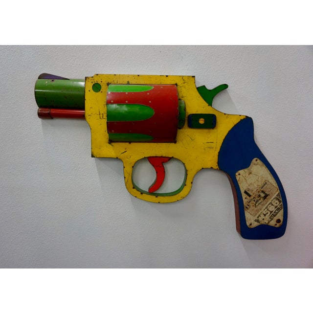 """Red """"Dan White"""" Gun Wall Sculpture by David Buckingham For Sale - Image 8 of 8"""