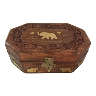 Wooden Elephant Box With Latch