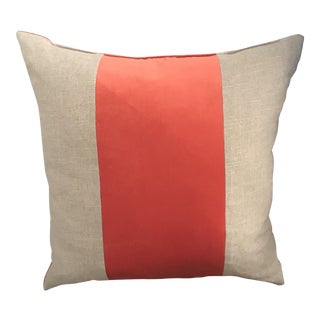 "22"" Orange Velvet Panel Decorative Pillow For Sale"