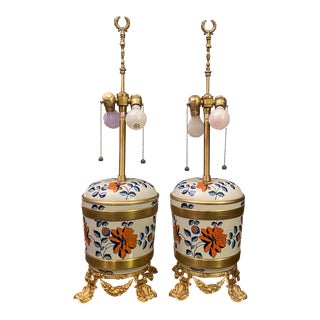 Antique Sevres Porcelain & Ormolu Marbro Lamps -a Pair For Sale