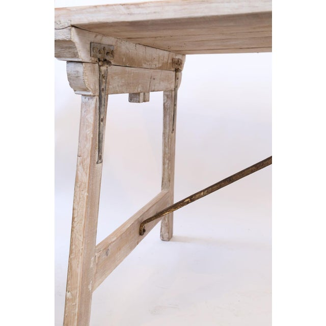 French Provincial Long Painted Pine Trestle Table For Sale - Image 3 of 13