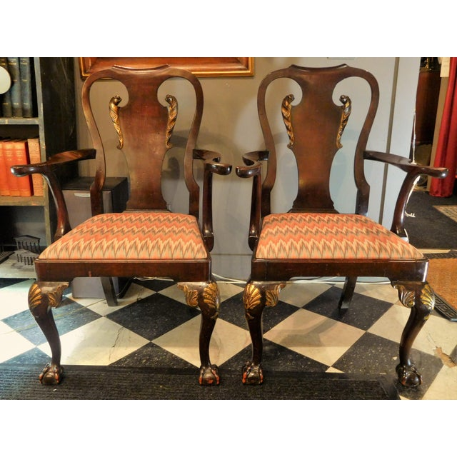 George II-style Hand-Carved and Parcel-Gilt Arm Chairs, England Circa 1810-1830 - A Pair For Sale - Image 13 of 13