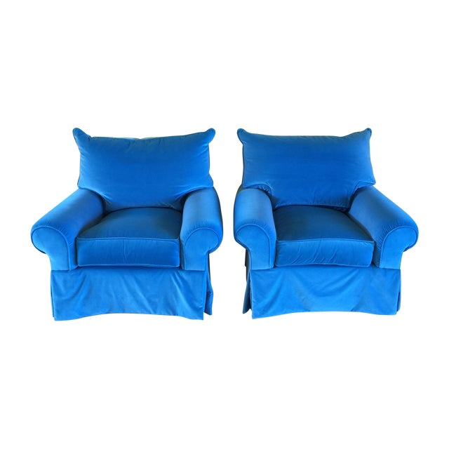 Venetian Blue Club Chairs - A Pair - Image 1 of 8
