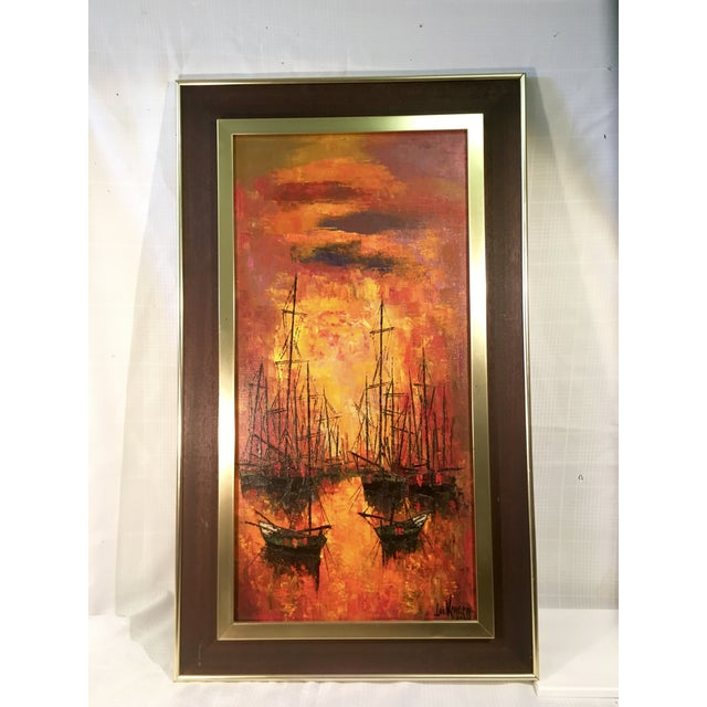 Vintage 1960s Abstract Sailboats Painting - Image 2 of 9