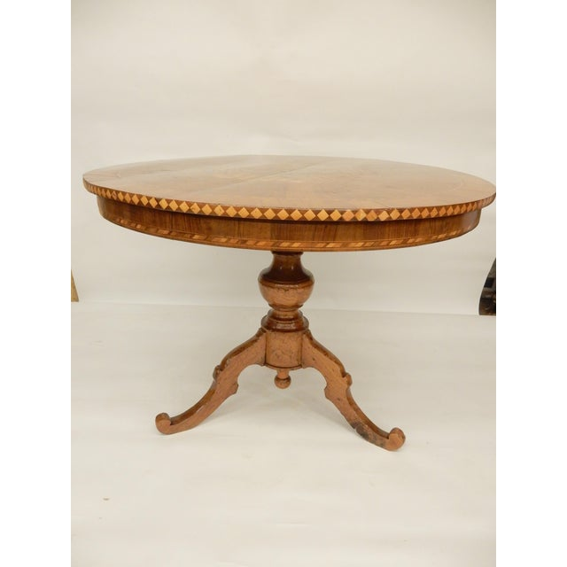 Wood 19th C. Italian Inlaid Walnut Center Hall Table For Sale - Image 7 of 7