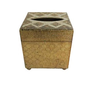 Antique Italian Florentine White and Gold Gilt Wooden Tissue Box Cover For Sale