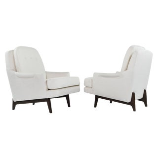 Roger Sprunger for Dunbar Linen Upholstered Walnut Lounge Chairs - a Pair For Sale