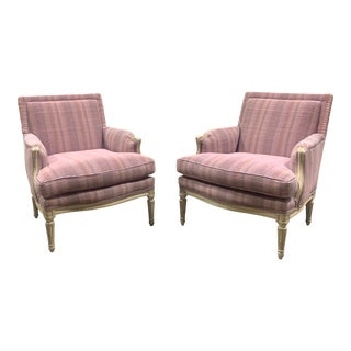 French Provincial Armchairs in Mauve and Rose For Sale