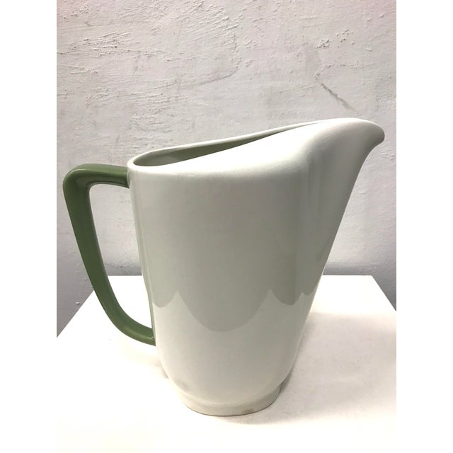 "Green 1950s Walter Dorwin Teague Large ""Conversation"" Pitcher for Taylor Smith & Taylor For Sale - Image 8 of 8"