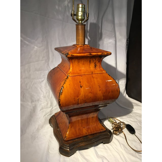 Oversized Amber Ginger Jar Lamp For Sale In Seattle - Image 6 of 10