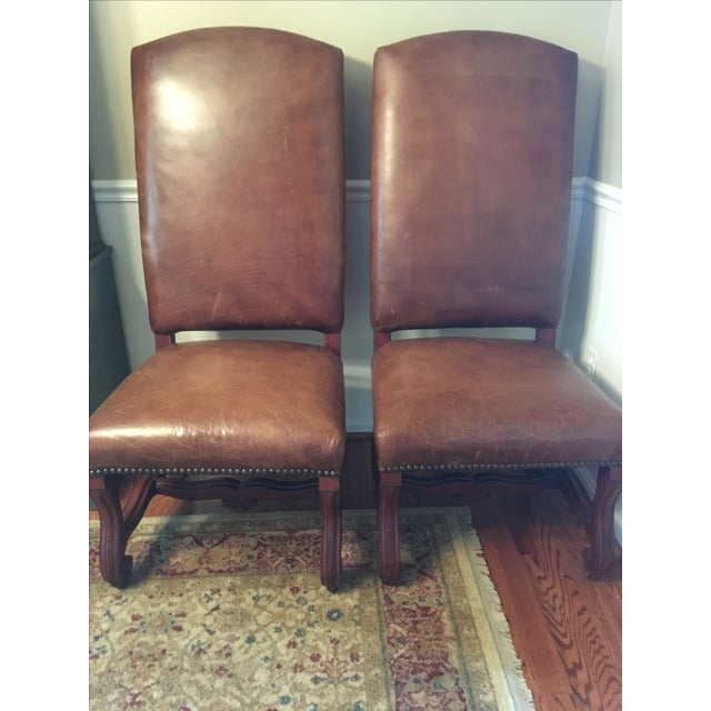 Ralph Lauren Leather Dining or Accent Chairs - S/2 - Image 7 of 8