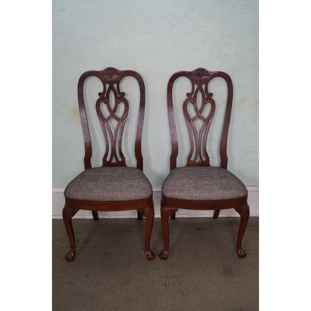 Store Item #: 14573 Ethan Allen 18th Century Collection Pair of Mahogany Side Dining Chairs AGE/COUNTRY OF ORIGIN: Approx...