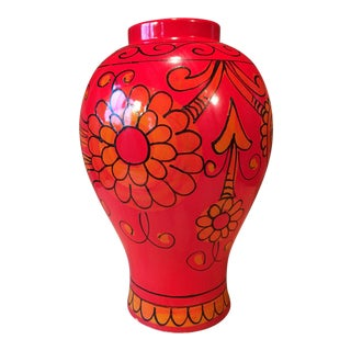 Bellini for Raymor Red Pottery Floor Vase