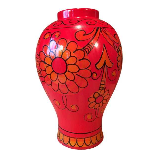 Bellini for Raymor Red Pottery Floor Vase For Sale