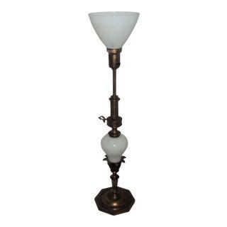 Stiffel Tall Table Brass Art Nouveau Oil Lamp Style Milk Glass Lamp For Sale