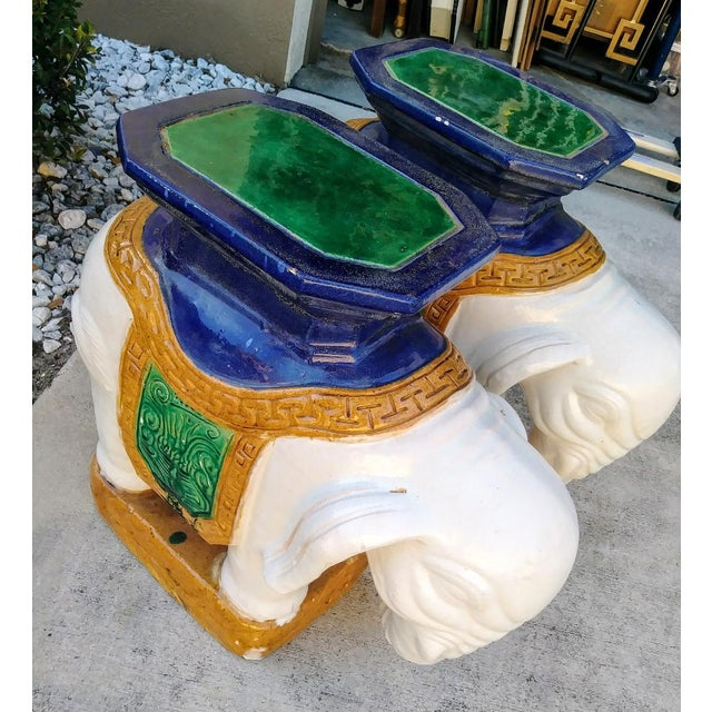 Chinoiserie A Pair Vintage Chinoiserie Palm Beach Regency Colorful Elephant Garden Stools Tables For Sale - Image 3 of 10