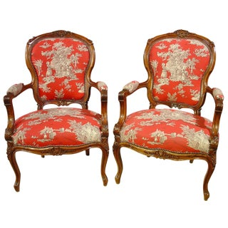 Pair of Louis XV Style Walnut Fauteuils with Toile de Jouy Upholstery