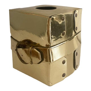 1970s Vintage Gold Tissue Box Cover With Buckle and Rivet Detail For Sale