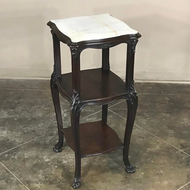 19th Century French Solid Rosewood Nightstand - Etagere Lamp Table For Sale - Image 12 of 12