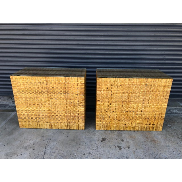 Vintage Woven Wrapped Rattan Chests- a Pair For Sale - Image 9 of 13