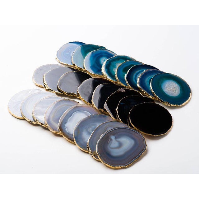 Gold Set of Eight Semi-Precious Gemstone Coasters Grey Agate Wrapped in 24-Karat Gold For Sale - Image 8 of 11