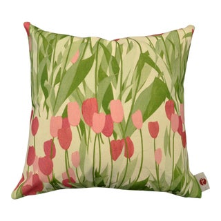 "20"" Pillow in In Bloom Fabric, Spinel Red For Sale"