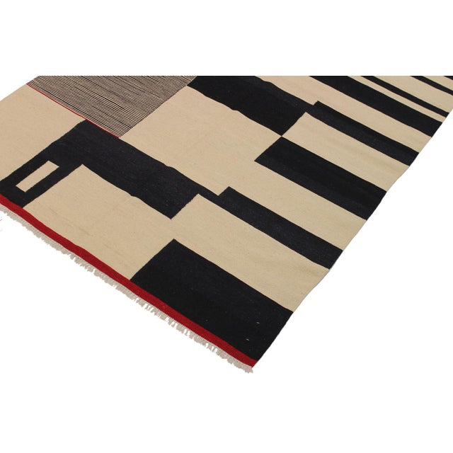 Contemporary Modern Abstract Kilim Aleen Black Hand-Woven Wool Rug -5′7″ × 8′ For Sale - Image 3 of 8