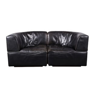 1970s De Sede Ds-15 Swiss Loveseat in Patinated Black Leather - 2 Pieces For Sale