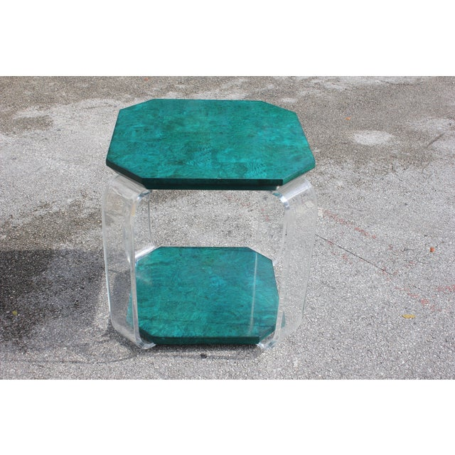 Mid-century modern green emerald burwood, lucite accent table or side table. The color of the green emerald wood table are...