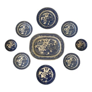 Blue Willow Platter and Plate Wall Display For Sale